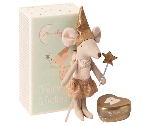 Maileg Mouse, Tooth Fairy in Box with metal Heart Girl, Zahnfee Mädchen in Box mit Zahndose