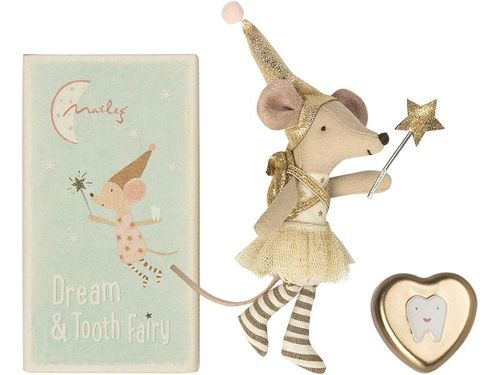 Maileg, Mouse, Tooth Fairy in Box with metal HeartGirl, Zahnfee Mädchen in Box mit Zahndose