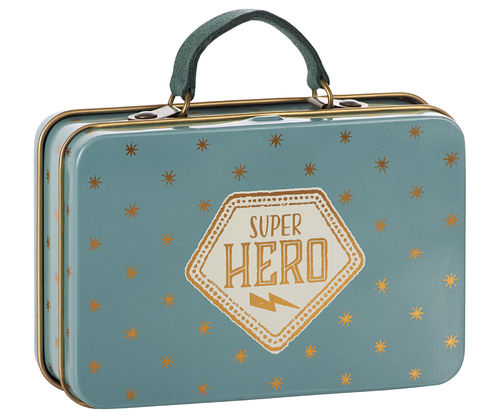 Maileg, Metal Suitcase, Blue gold Stars, Koffer