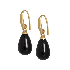 Sence Copenhagen  Earrings Black Agate matt gold