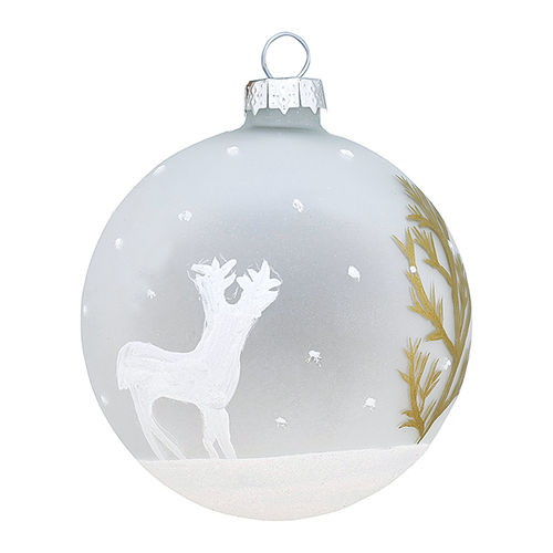 GreenGate Ball glass Josephine deer gold,  Weihnachtsbaumkugel