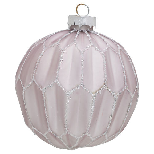 GreenGate Ball glass Penelope lavendar glitter large, Weihnachtsbaumkugel