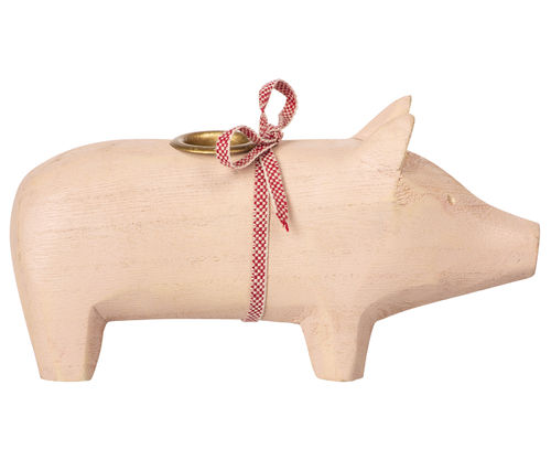 Maileg Wooden Pig, Medium - Powder, Holzschwein in Rosa