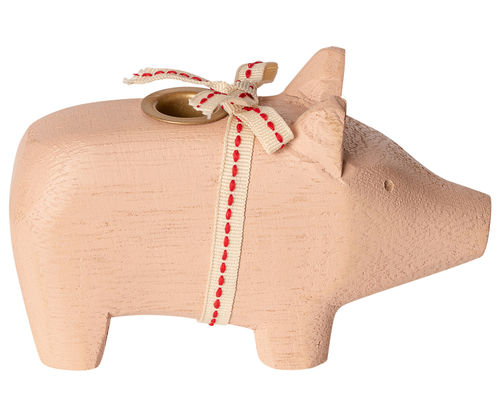Maileg Wooden Pig, Small - Powder, Holzschwein in Rosa