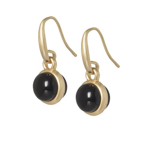 Sence Copenhagen Essentials earrings Black Agate matt gold