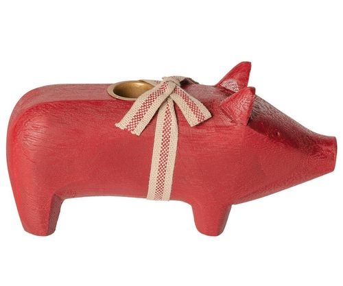 Maileg Wooden Pig, Medium - Red, Holzschwein in Rot