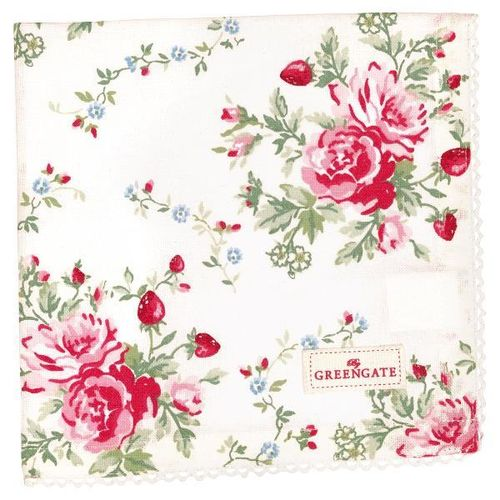 GreenGate Stoffserviette, Napkin with lace Mary white