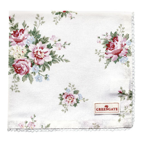 GreenGate Stoffserviette, Napkin with Lace Aurelia white