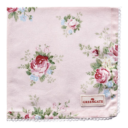 GreenGate Stoffserviette, Napkin with Lace Aurelia pale pink