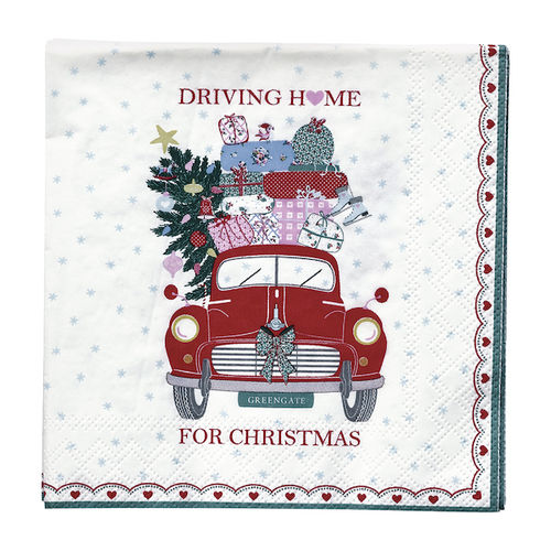 "Greengate Papierservietten klein, ""Christmas car"" rot"