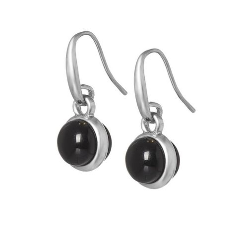 Sence Copenhagen Essentials earrings Black Agate matt silver