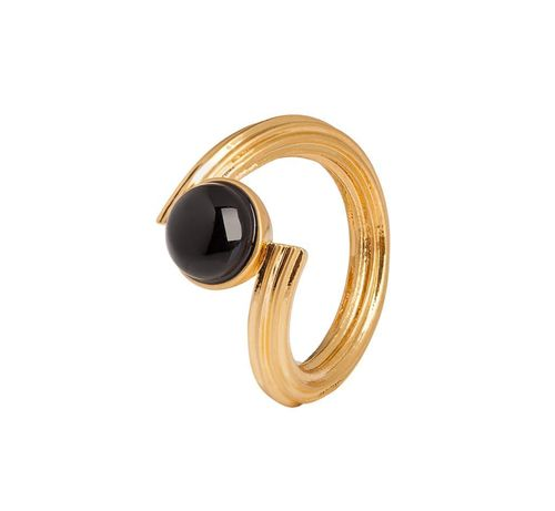 Sence Copenhagen Star ring Black Onyx matt gold - Ring Größe S8