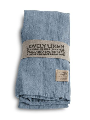 LOVELY LINEN Leinenserviette 45 x 45 cm aus 100% Leinen, Farbe Dusty Blue