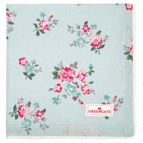 GreenGate Napkin with lace Sonia pale blue,  Stoffserviette